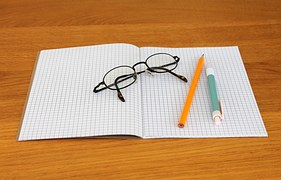 glasses and pens