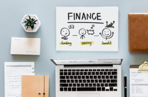 office kits and a sheet of paper with the word finance